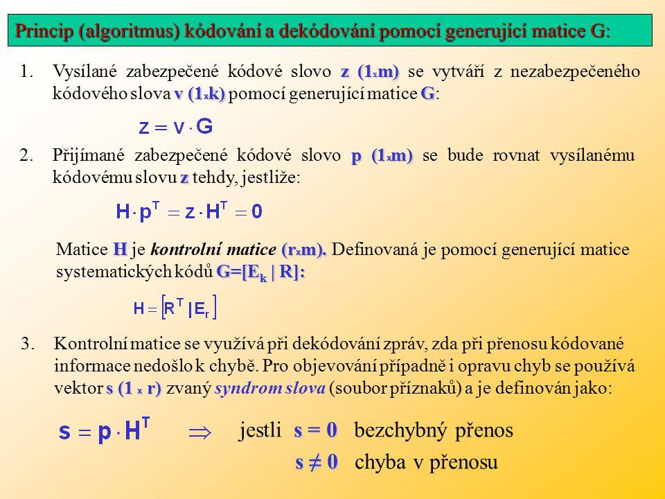 z (1 x m) v (1 x k)G 1.Vysílané zabezpečené kódové slovo z (1 x m) se vytváří z nezabezpečeného kódového slova v (1 x k) pomocí generující matice G: p (1 x m) z 2.Přijímané zabezpečené kódové slovo p (1 x m) se bude rovnat vysílanému kódovému slovu z tehdy, jestliže: H(r x m).