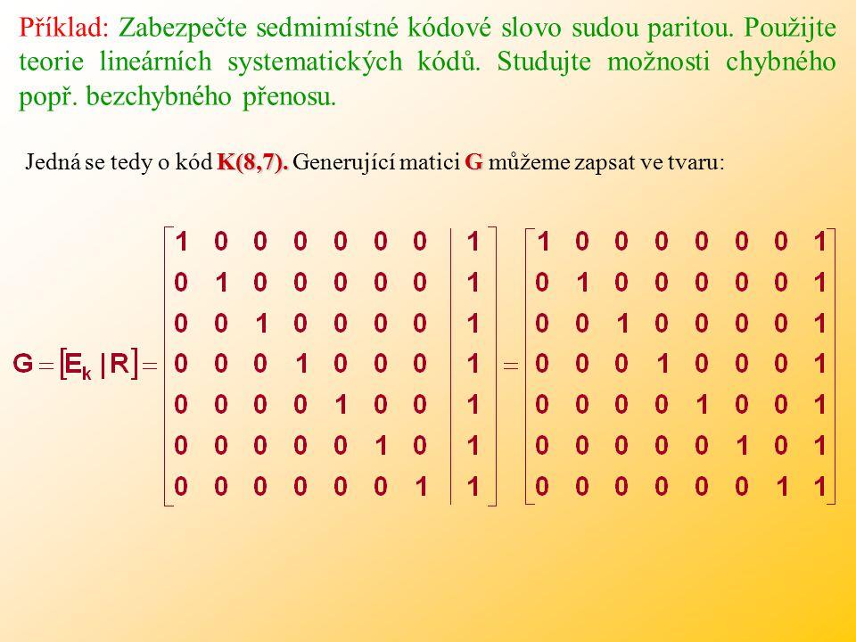Příklad: Zabezpečte sedmimístné kódové slovo sudou paritou.