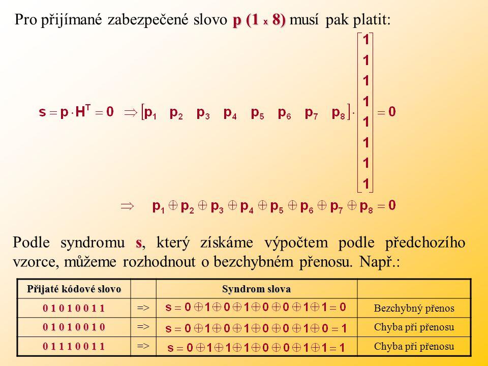 p (1 x 8) Pro přijímané zabezpečené slovo p (1 x 8) musí pak platit: s Podle syndromu s, který získáme výpočtem podle předchozího vzorce, můžeme rozhodnout o bezchybném přenosu.
