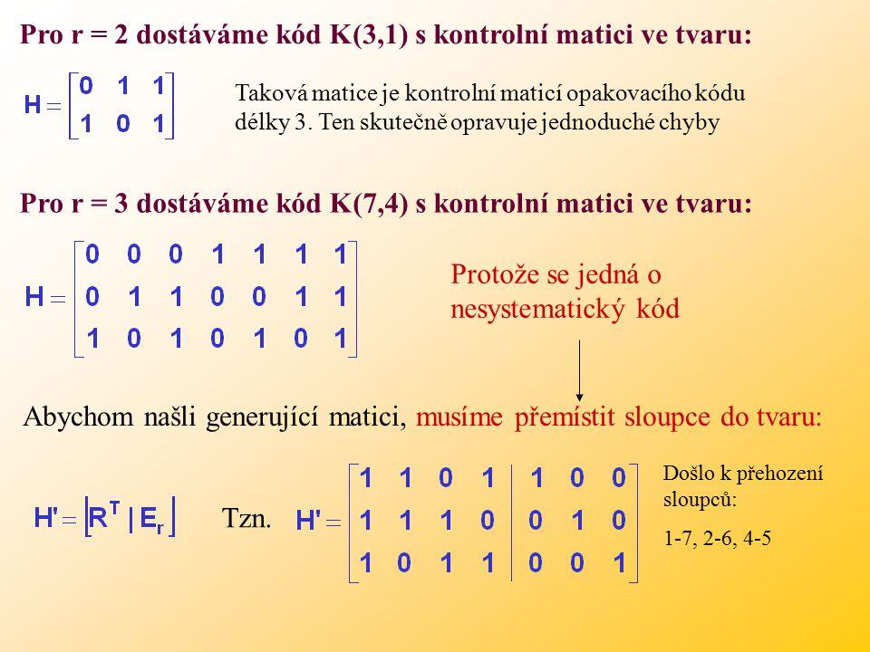 Pro r = 2 dostáváme kód K(3,1) s kontrolní matici ve tvaru: Taková matice je kontrolní maticí opakovacího kódu délky 3.