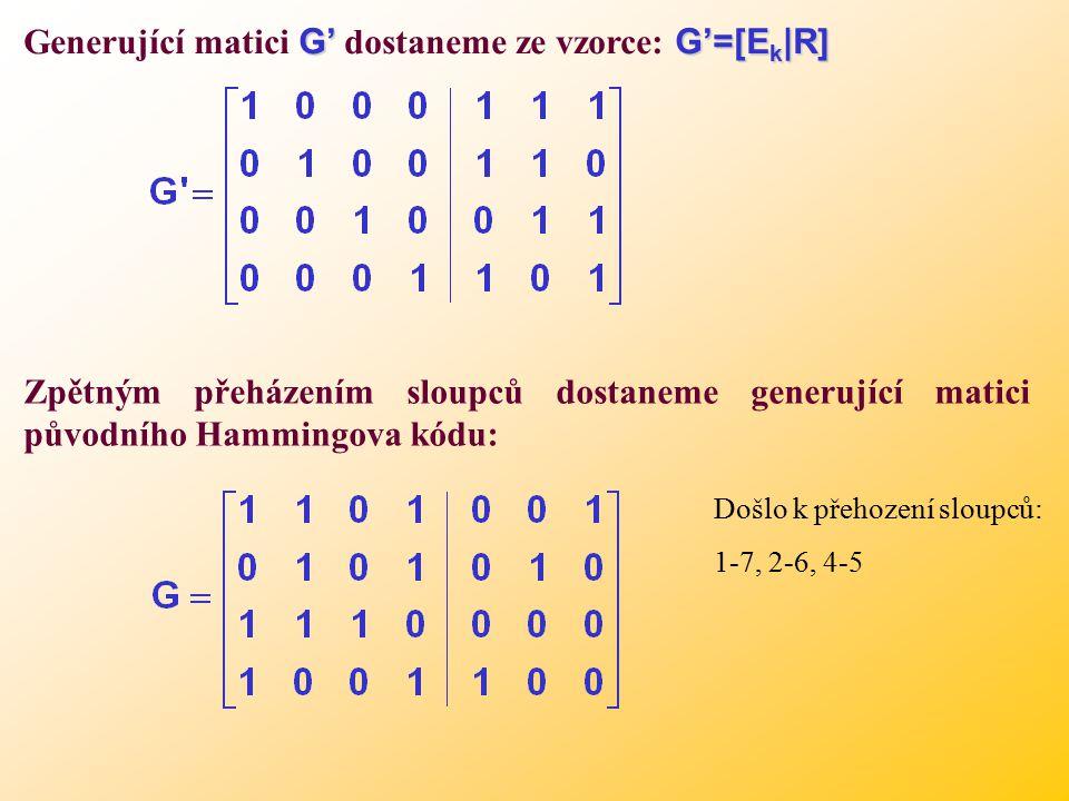 G'G'=[E k |R] Generující matici G' dostaneme ze vzorce: G'=[E k |R] Zpětným přeházením sloupců dostaneme generující matici původního Hammingova kódu: Došlo k přehození sloupců: 1-7, 2-6, 4-5