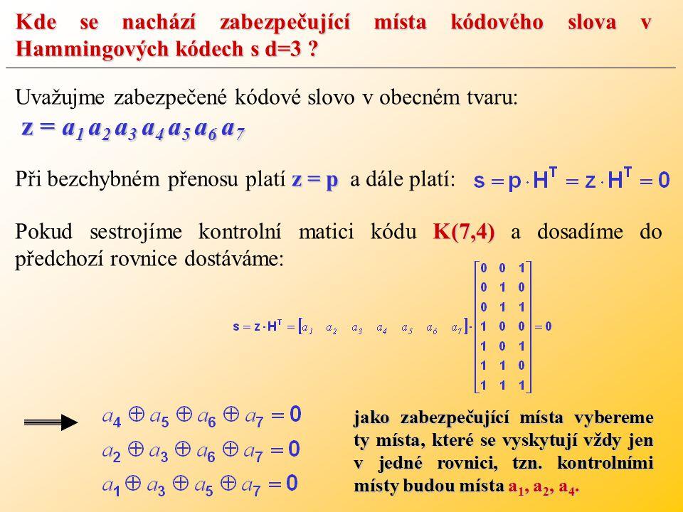 Kde se nachází zabezpečující místa kódového slova v Hammingových kódech s d=3 .