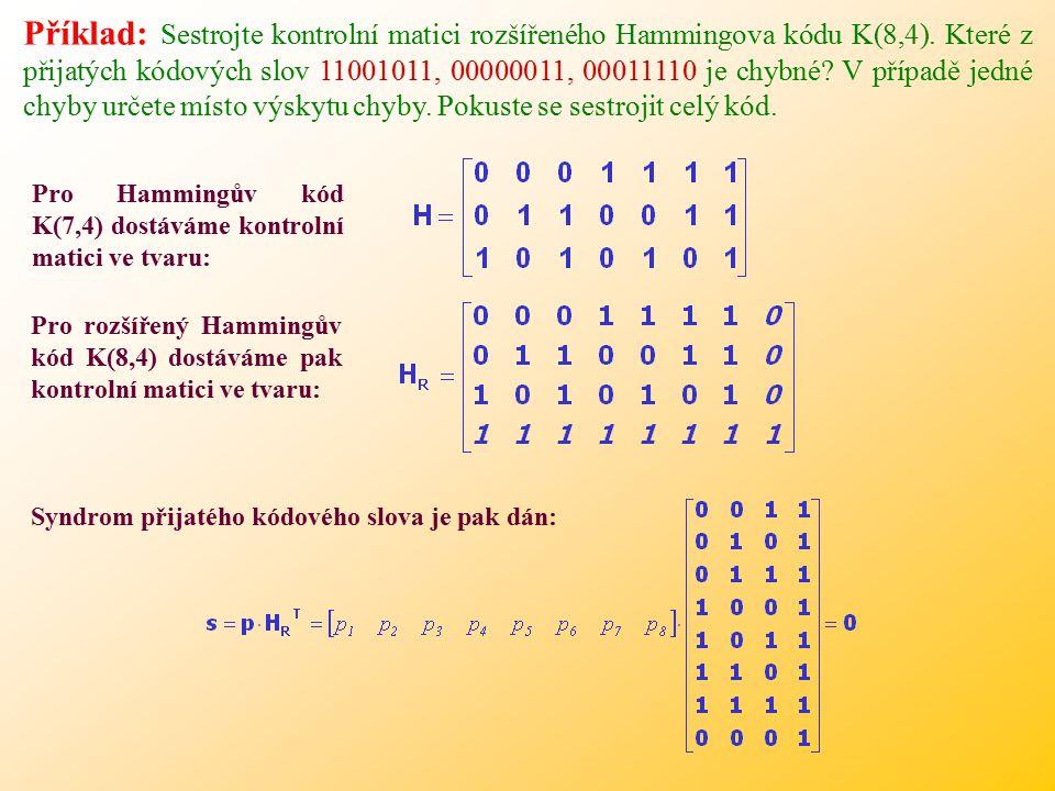 Příklad: Sestrojte kontrolní matici rozšířeného Hammingova kódu K(8,4).