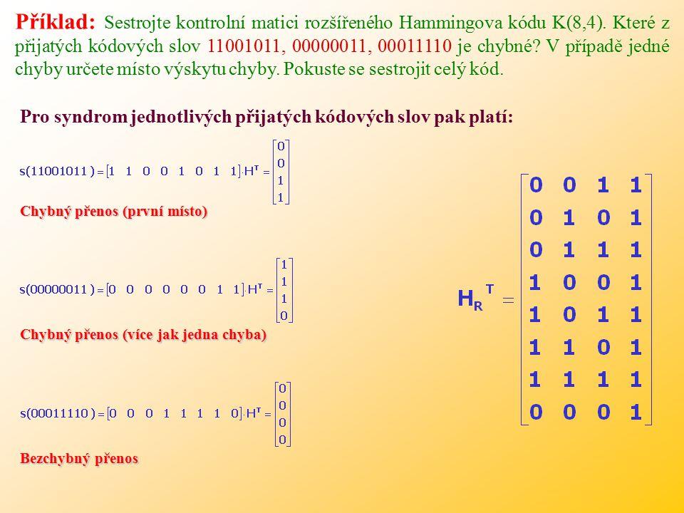 Chybný přenos (první místo) Chybný přenos (více jak jedna chyba) Bezchybný přenos Pro syndrom jednotlivých přijatých kódových slov pak platí: Příklad: Sestrojte kontrolní matici rozšířeného Hammingova kódu K(8,4).