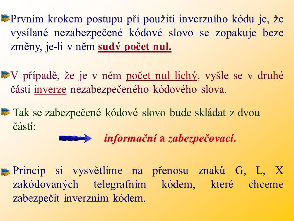 Prvním krokem postupu při použití inverzního kódu je, že vysílané nezabezpečené kódové slovo se zopakuje beze změny, je-li v něm sudý počet nul.