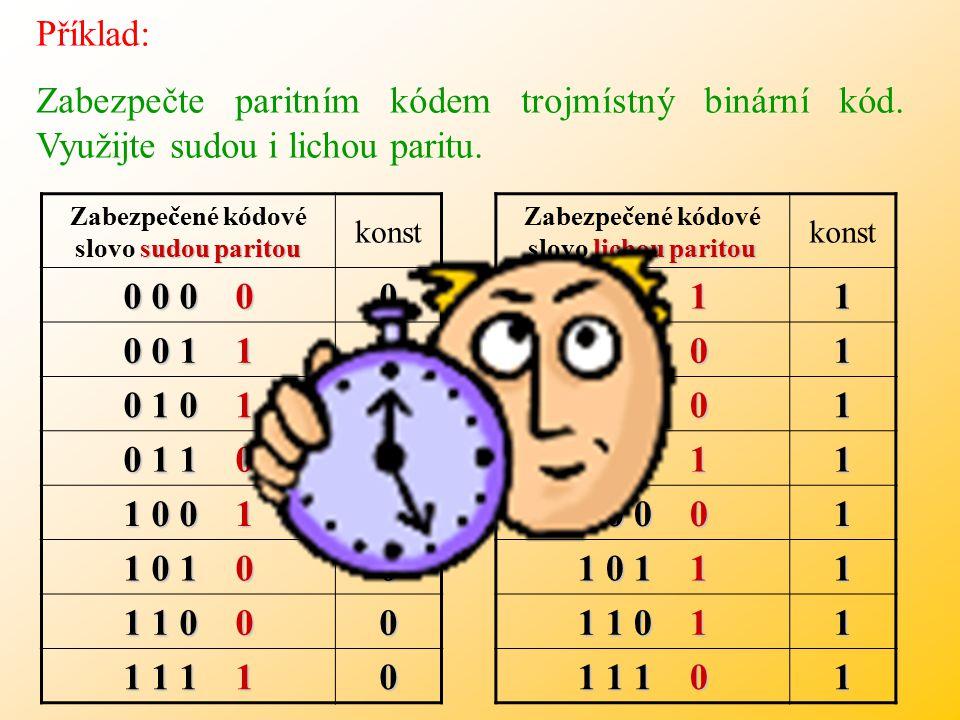 Příklad: Zabezpečte paritním kódem trojmístný binární kód.