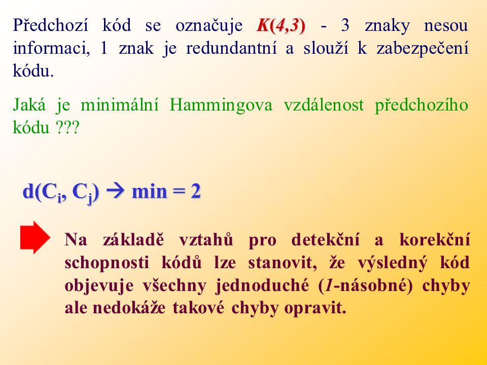 K(4,3) Předchozí kód se označuje K(4,3) - 3 znaky nesou informaci, 1 znak je redundantní a slouží k zabezpečení kódu.