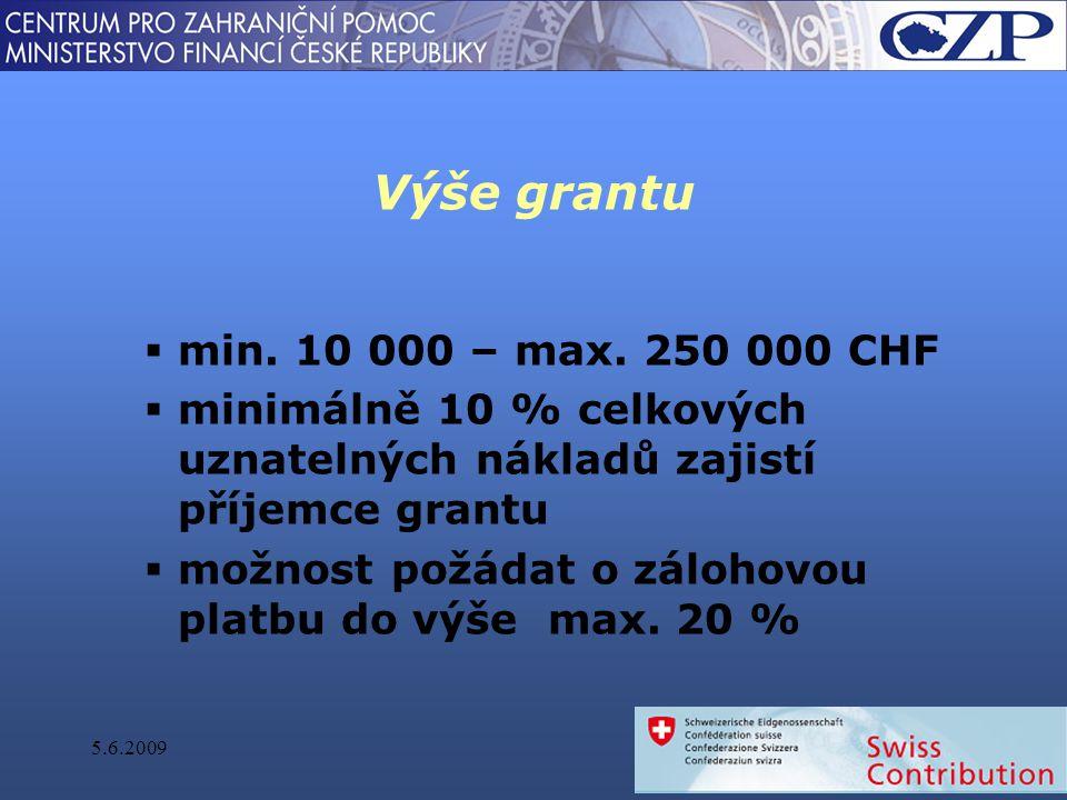 Výše grantu  min. 10 000 – max.