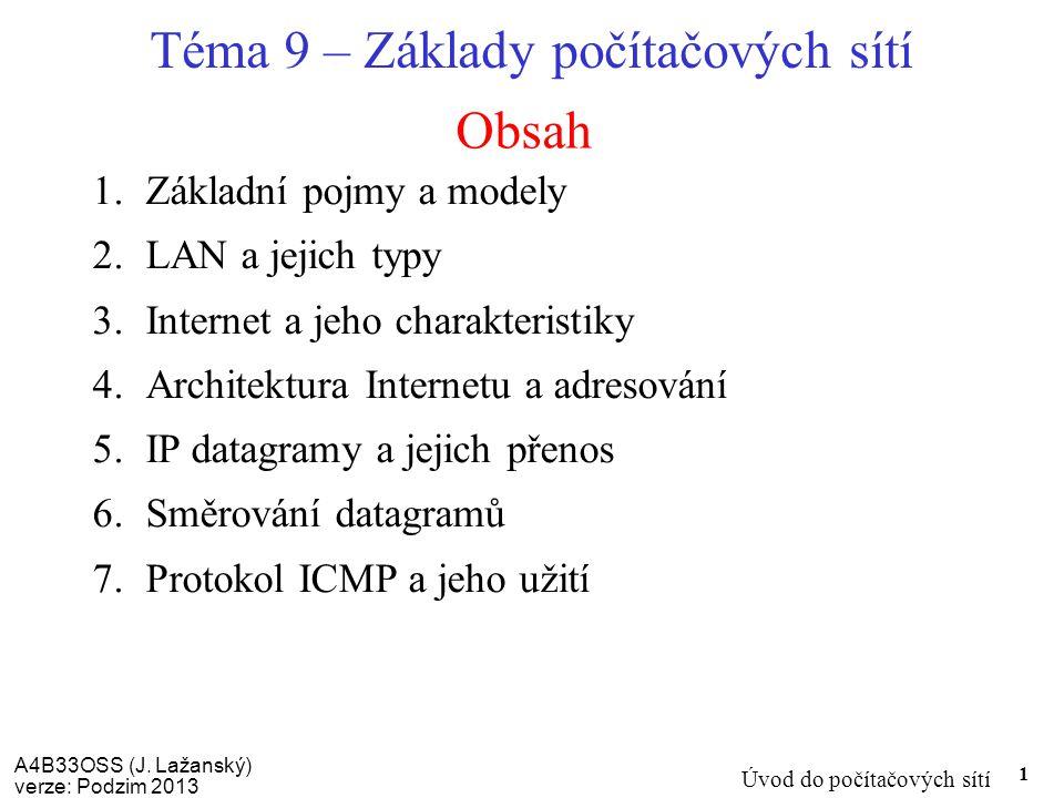 A4B33OSS (J. Lažanský) verze: Podzim 2013 Úvod do počítačových sítí 1 Obsah Téma 9 – Základy počítačových sítí 1.Základní pojmy a modely 2.LAN a jejic