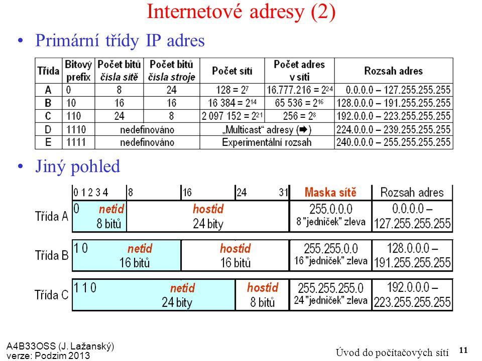 A4B33OSS (J. Lažanský) verze: Podzim 2013 Úvod do počítačových sítí 11 Internetové adresy (2) Primární třídy IP adres Jiný pohled