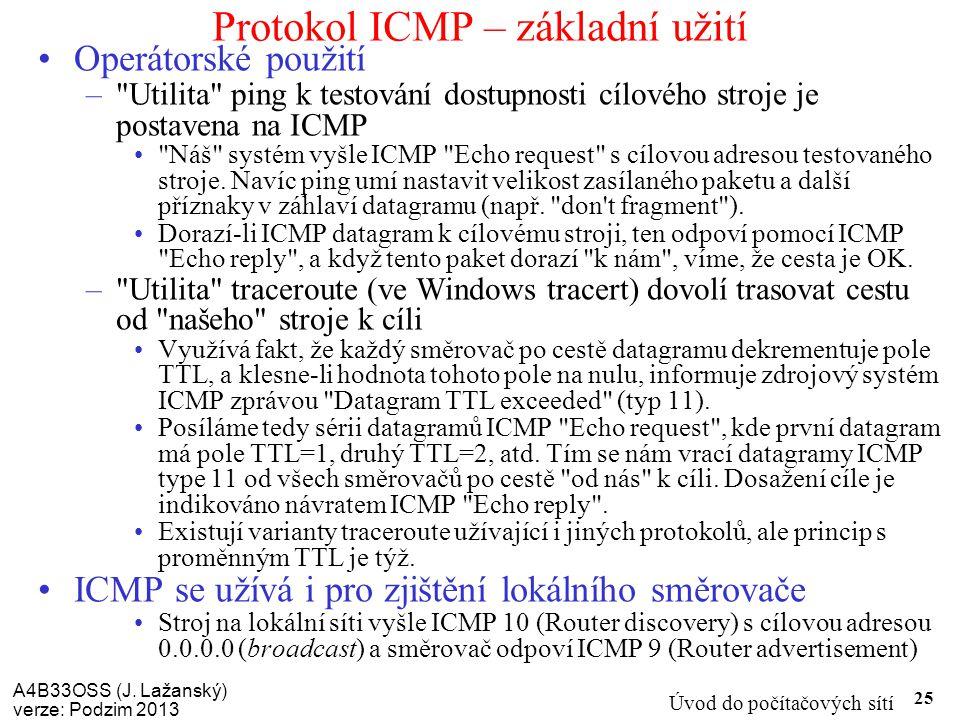A4B33OSS (J. Lažanský) verze: Podzim 2013 Úvod do počítačových sítí 25 Protokol ICMP – základní užití Operátorské použití –