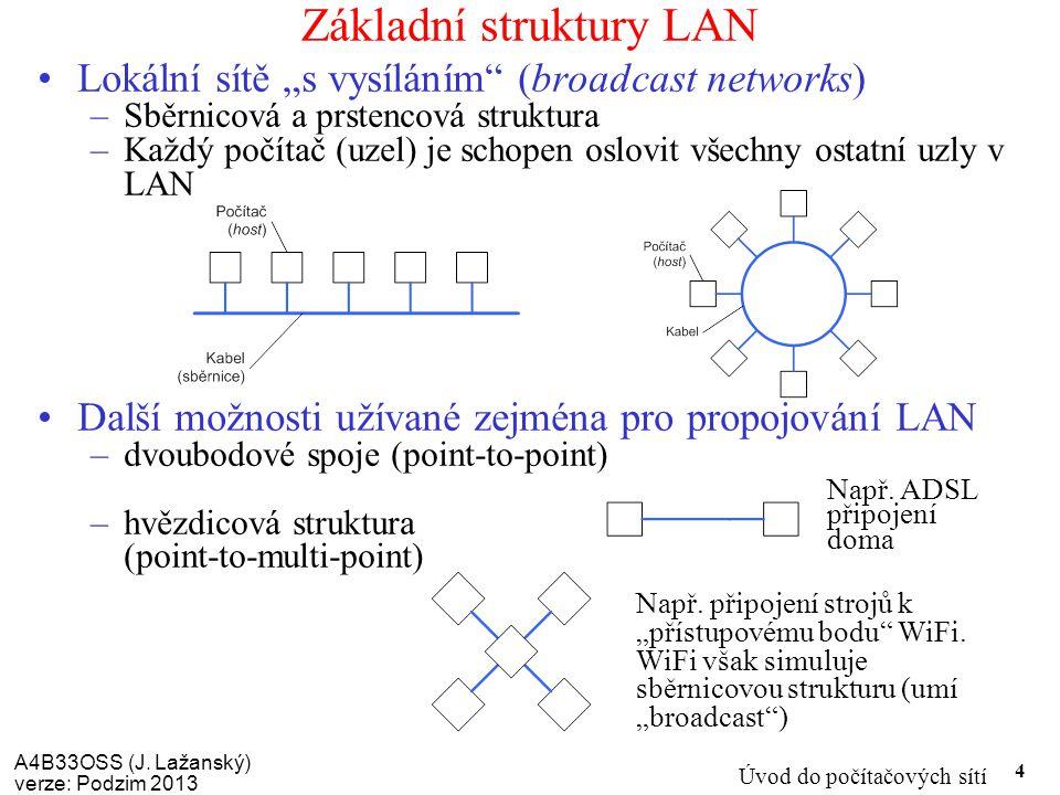 """A4B33OSS (J. Lažanský) verze: Podzim 2013 Úvod do počítačových sítí 4 Základní struktury LAN Lokální sítě """"s vysíláním"""" (broadcast networks) –Sběrnico"""
