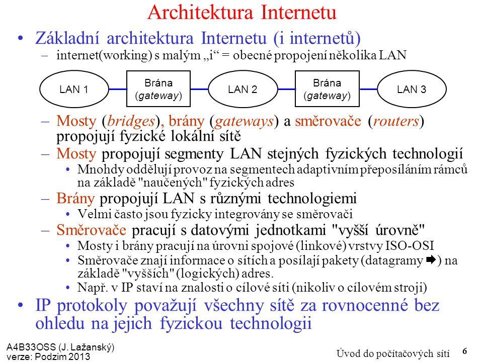A4B33OSS (J. Lažanský) verze: Podzim 2013 Úvod do počítačových sítí 6 Architektura Internetu Základní architektura Internetu (i internetů) –internet(w