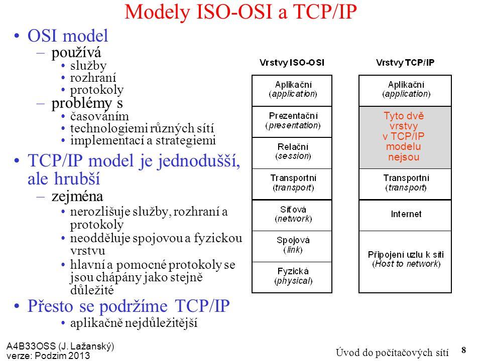 A4B33OSS (J. Lažanský) verze: Podzim 2013 Úvod do počítačových sítí 8 Modely ISO-OSI a TCP/IP OSI model –používá služby rozhraní protokoly –problémy s