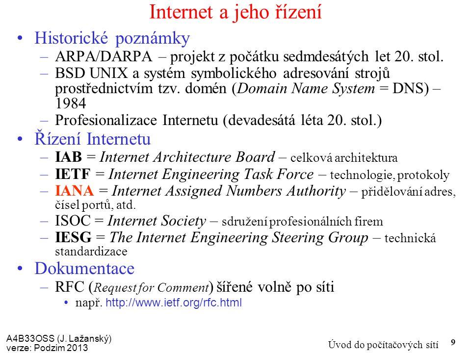 A4B33OSS (J. Lažanský) verze: Podzim 2013 Úvod do počítačových sítí 9 Internet a jeho řízení Historické poznámky –ARPA/DARPA – projekt z počátku sedmd