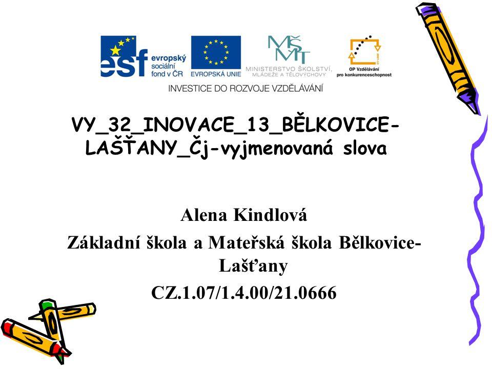 VY_32_INOVACE_13_BĚLKOVICE- LAŠŤANY_Čj-vyjmenovaná slova Alena Kindlová Základní škola a Mateřská škola Bělkovice- Lašťany CZ.1.07/1.4.00/21.0666