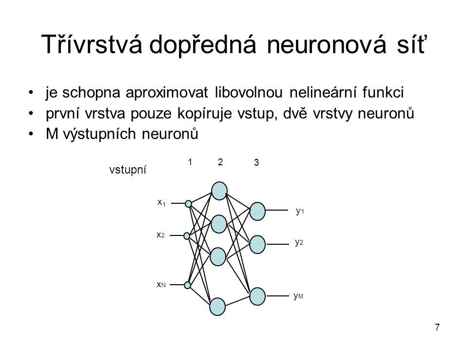8 Co umí třívrstvá síť Neurony ve druhé vrstvě (skryté) mají přenosovou funkci Sigmoidu, výstupní neuron má lineární přenosovou funkci x1x1 x2x2 2 ¨4 2 -2 b 1 =5 b 2 =8 b 3 =0 1 1