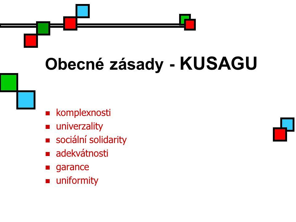 Obecné zásady - KUSAGU komplexnosti univerzality sociální solidarity adekvátnosti garance uniformity