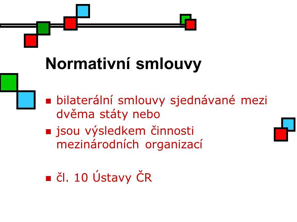 Normativní smlouvy bilaterální smlouvy sjednávané mezi dvěma státy nebo jsou výsledkem činnosti mezinárodních organizací čl. 10 Ústavy ČR