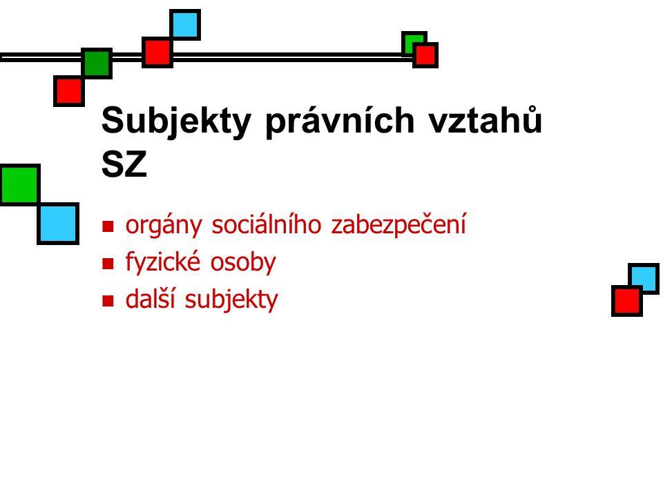 Subjekty právních vztahů SZ orgány sociálního zabezpečení fyzické osoby další subjekty