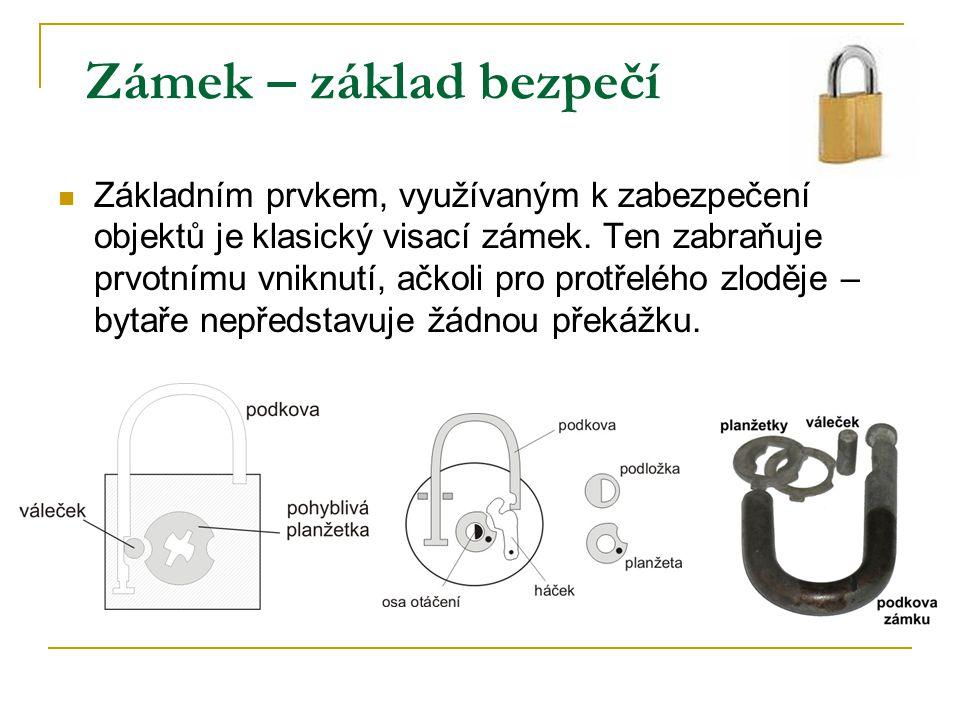 Zámek – základ bezpečí Základním prvkem, využívaným k zabezpečení objektů je klasický visací zámek. Ten zabraňuje prvotnímu vniknutí, ačkoli pro protř