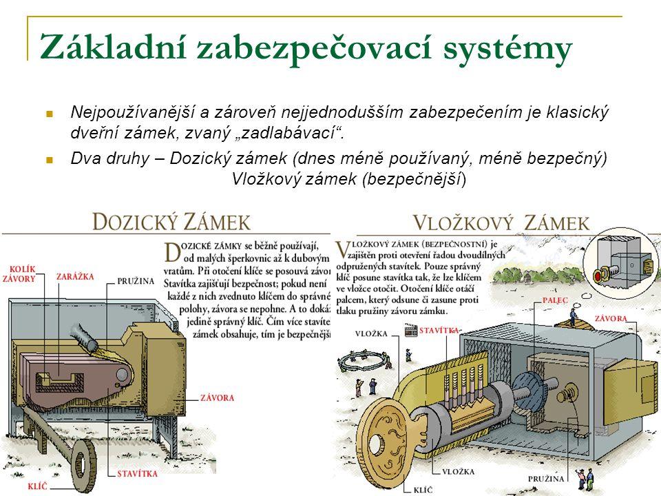 """Základní zabezpečovací systémy Nejpoužívanější a zároveň nejjednodušším zabezpečením je klasický dveřní zámek, zvaný """"zadlabávací"""". Dva druhy – Dozick"""