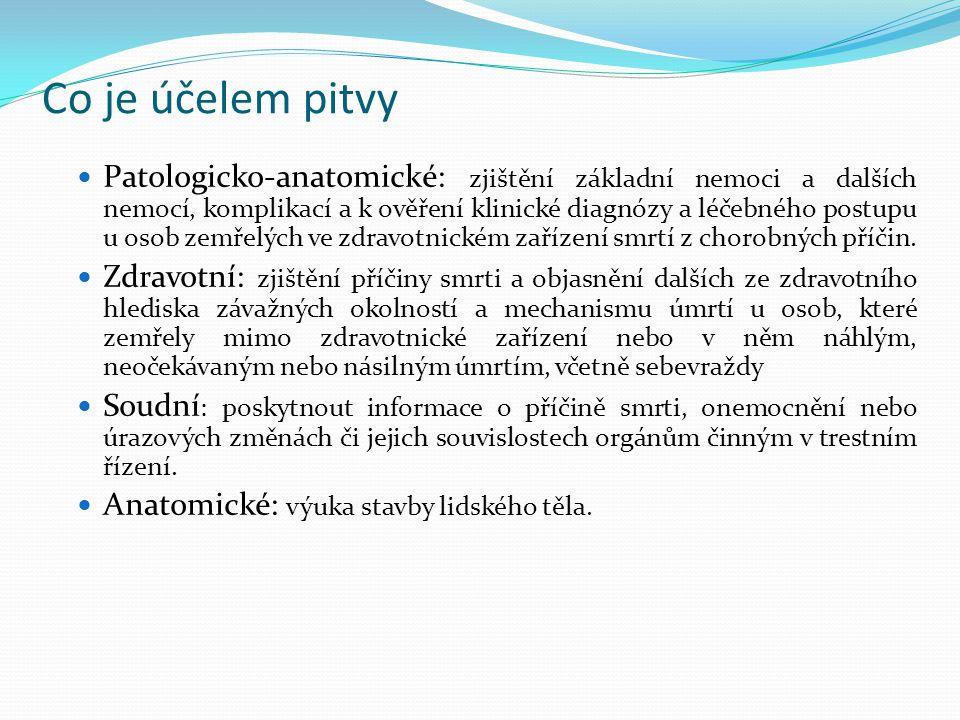 Co je účelem pitvy Patologicko-anatomické: zjištění základní nemoci a dalších nemocí, komplikací a k ověření klinické diagnózy a léčebného postupu u o