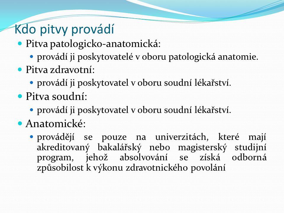 Kdo pitvy provádí Pitva patologicko-anatomická: provádí ji poskytovatelé v oboru patologická anatomie. Pitva zdravotní: provádí ji poskytovatel v obor
