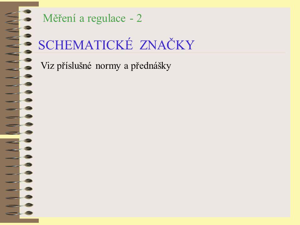 Měření a regulace - 2 SCHEMATICKÉ ZNAČKY Viz příslušné normy a přednášky