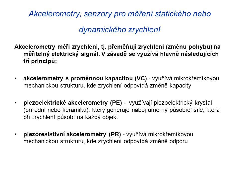Akcelerometry, senzory pro měření statického nebo dynamického zrychlení Akcelerometry měří zrychlení, tj.