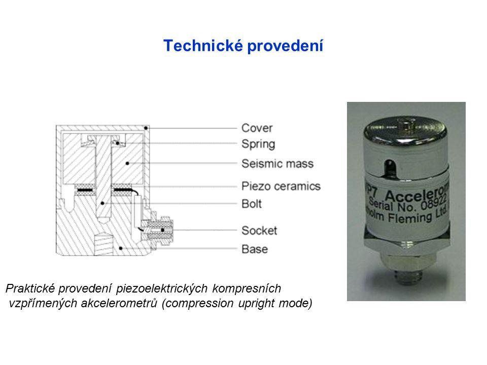 Technické provedení Praktické provedení piezoelektrických kompresních vzpřímených akcelerometrů (compression upright mode)