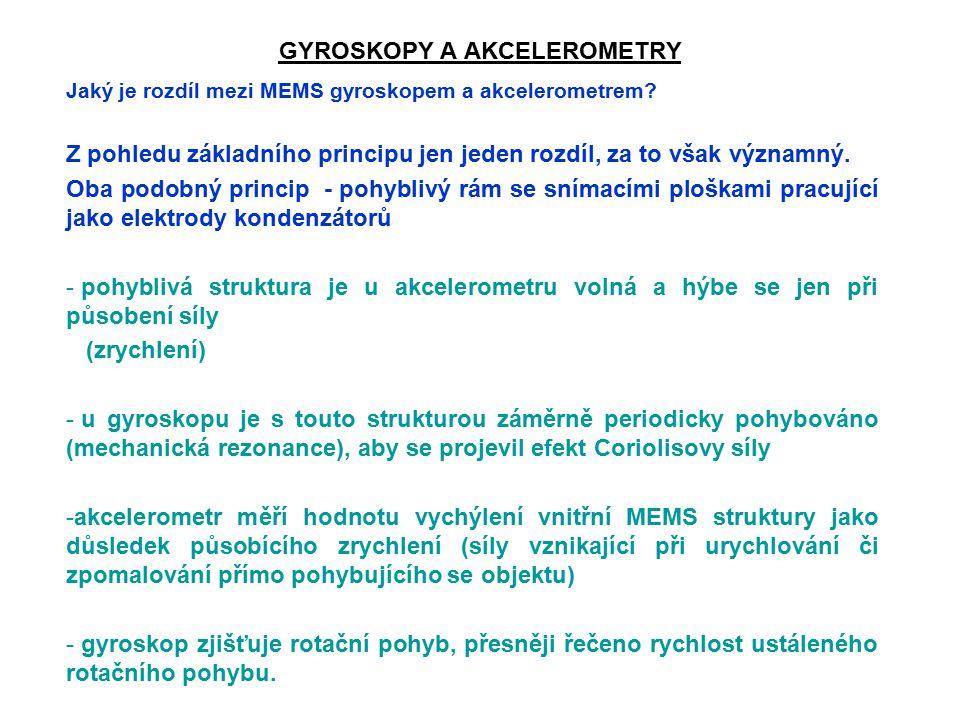 GYROSKOPY A AKCELEROMETRY Jaký je rozdíl mezi MEMS gyroskopem a akcelerometrem.