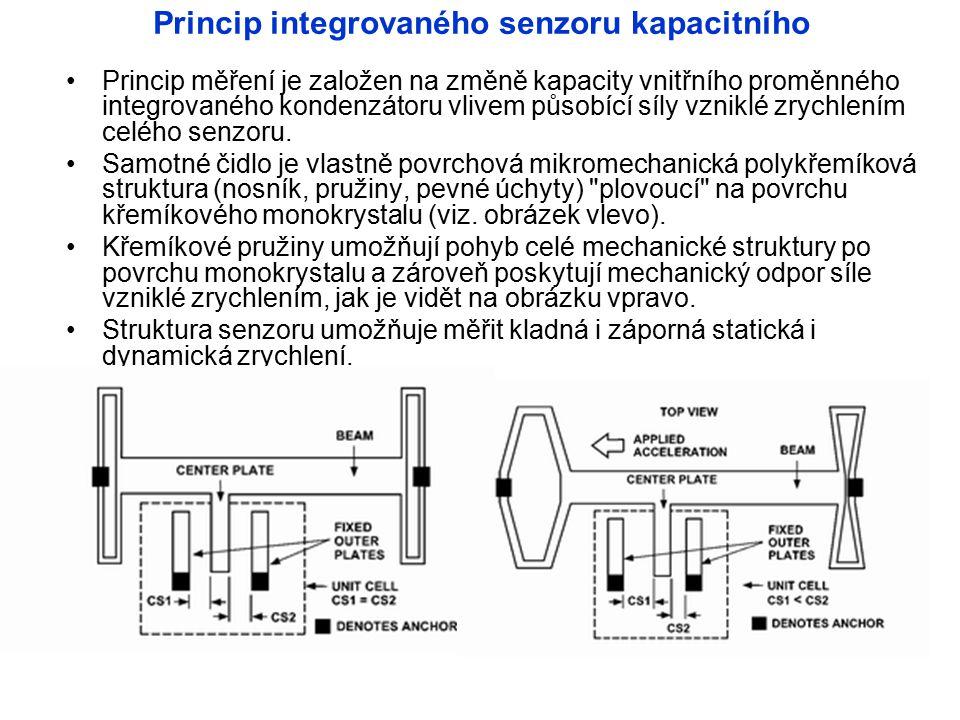 Princip integrovaného senzoru kapacitního Princip měření je založen na změně kapacity vnitřního proměnného integrovaného kondenzátoru vlivem působící síly vzniklé zrychlením celého senzoru.