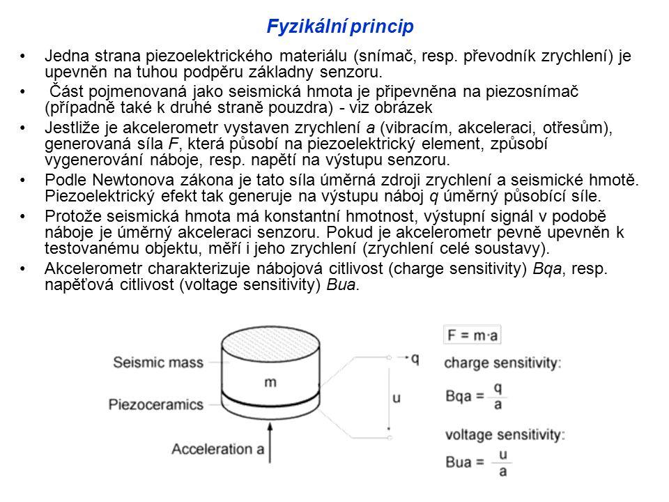 Fyzikální princip Jedna strana piezoelektrického materiálu (snímač, resp.
