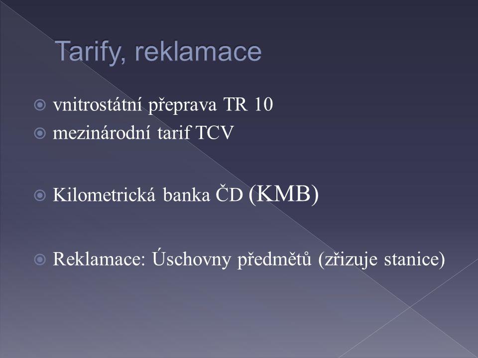  vnitrostátní přeprava TR 10  mezinárodní tarif TCV  Kilometrická banka ČD (KMB)  Reklamace: Úschovny předmětů (zřizuje stanice)
