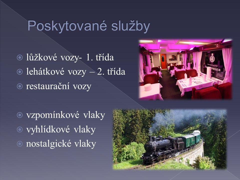  lůžkové vozy- 1. třída  lehátkové vozy – 2. třída  restaurační vozy  vzpomínkové vlaky  vyhlídkové vlaky  nostalgické vlaky