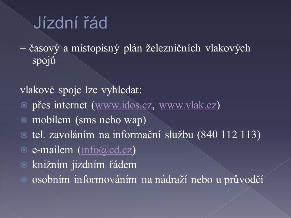 = časový a místopisný plán železničních vlakových spojů vlakové spoje lze vyhledat:  přes internet (www.idos.cz, www.vlak.cz)www.idos.czwww.vlak.cz  mobilem (sms nebo wap)  tel.