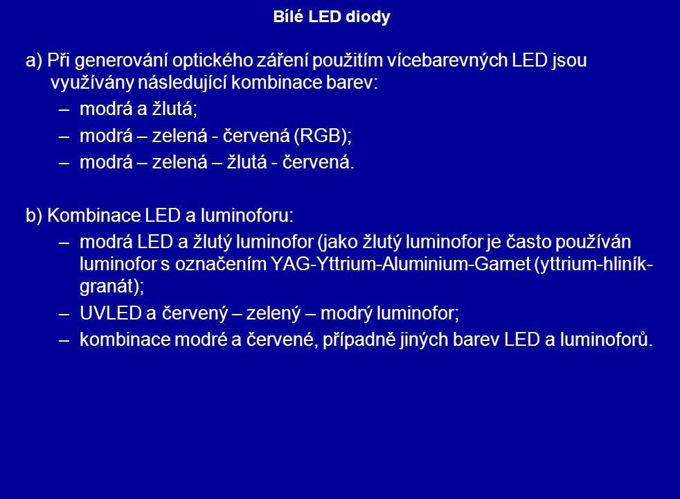 a) Při generování optického záření použitím vícebarevných LED jsou využívány následující kombinace barev: –modrá a žlutá; –modrá – zelená - červená (RGB); –modrá – zelená – žlutá - červená.