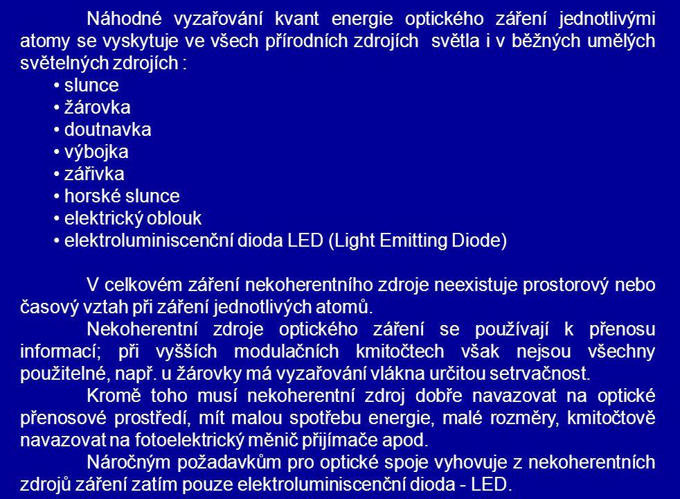 Náhodné vyzařování kvant energie optického záření jednotlivými atomy se vyskytuje ve všech přírodních zdrojích světla i v běžných umělých světelných zdrojích : slunce žárovka doutnavka výbojka zářivka horské slunce elektrický oblouk elektroluminiscenční dioda LED (Light Emitting Diode) V celkovém záření nekoherentního zdroje neexistuje prostorový nebo časový vztah při záření jednotlivých atomů.