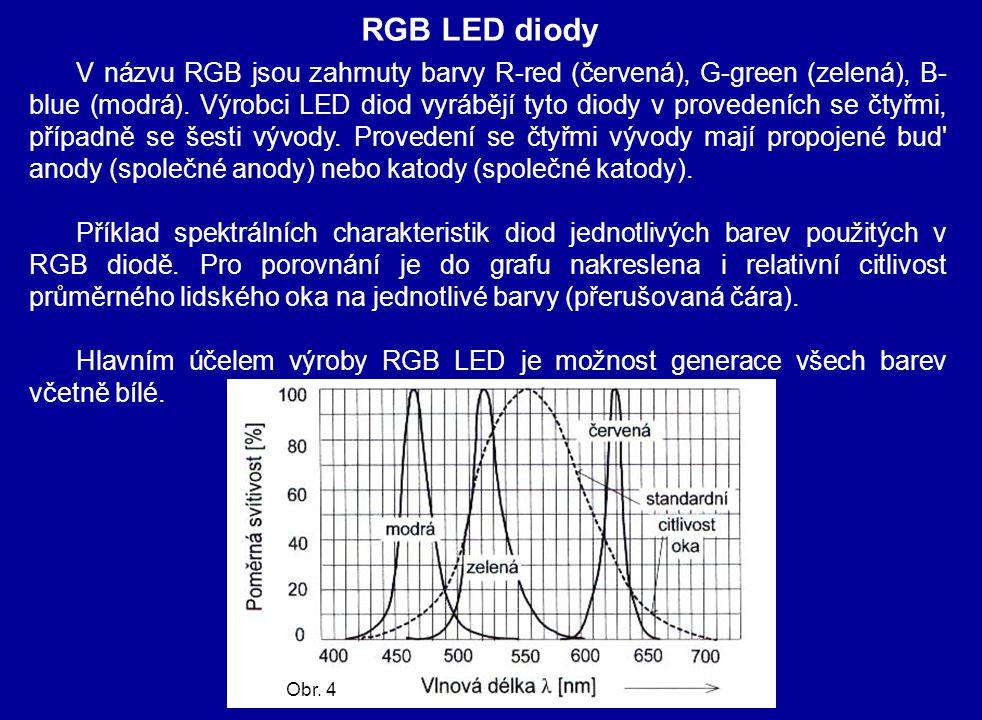 RGB LED diody V názvu RGB jsou zahrnuty barvy R-red (červená), G-green (zelená), B- blue (modrá). Výrobci LED diod vyrábějí tyto diody v provedeních s