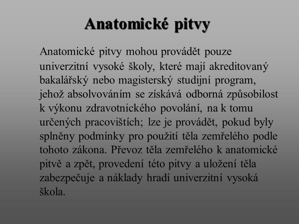 Anatomické pitvy Anatomické pitvy mohou provádět pouze univerzitní vysoké školy, které mají akreditovaný bakalářský nebo magisterský studijní program,