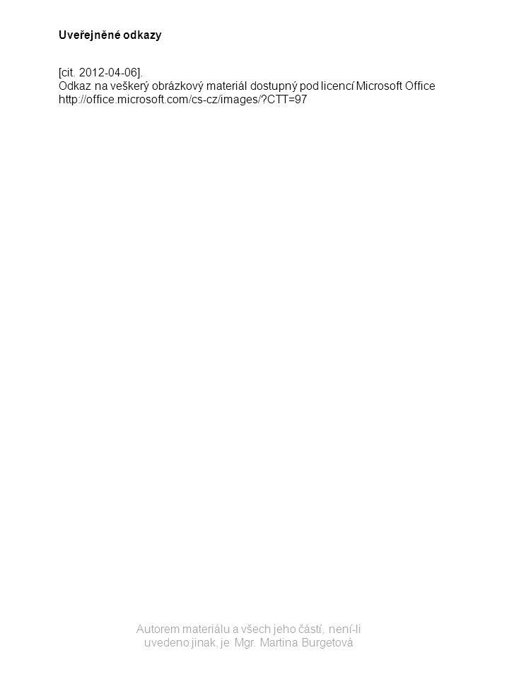 Autorem materiálu a všech jeho částí, není-li uvedeno jinak, je Mgr. Martina Burgetová Uveřejněné odkazy [cit. 2012-04-06]. Odkaz na veškerý obrázkový