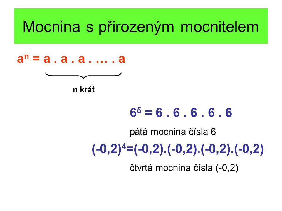 Mocnina s přirozeným mocnitelem a n = a. a. a. …. a 6 5 = 6. 6. 6. 6. 6 pátá mocnina čísla 6 (-0,2) 4 =(-0,2).(-0,2).(-0,2).(-0,2) čtvrtá mocnina čísl
