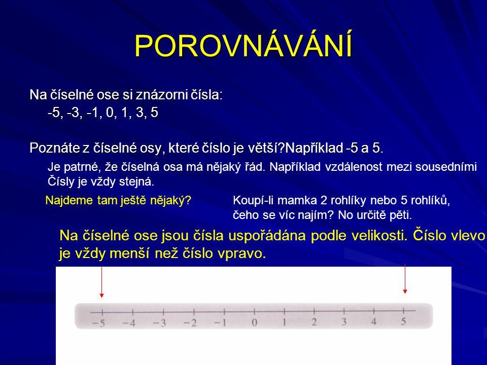 POROVNÁVÁNÍ Na číselné ose si znázorni čísla: -5, -3, -1, 0, 1, 3, 5 Poznáte z číselné osy, které číslo je větší?Například -5 a 5. Je patrné, že čísel