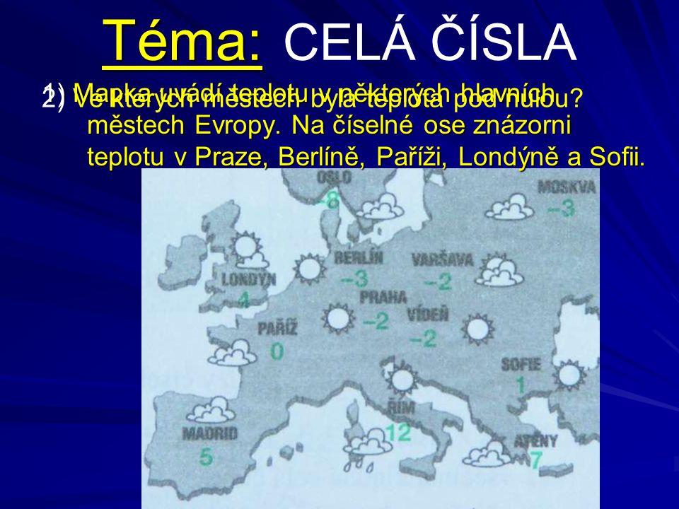 Téma: Téma: CELÁ ČÍSLA 1) Mapka uvádí teplotu v některých hlavních městech Evropy. Na číselné ose znázorni teplotu v Praze, Berlíně, Paříži, Londýně a