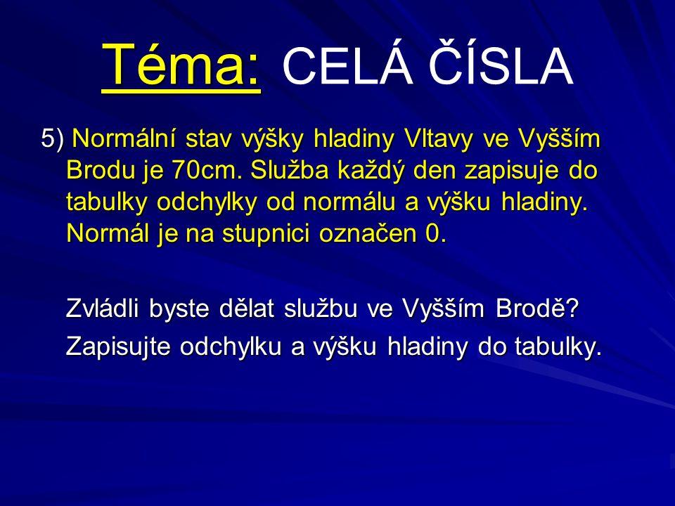 Téma: Téma: CELÁ ČÍSLA 5) Normální stav výšky hladiny Vltavy ve Vyšším Brodu je 70cm. Služba každý den zapisuje do tabulky odchylky od normálu a výšku
