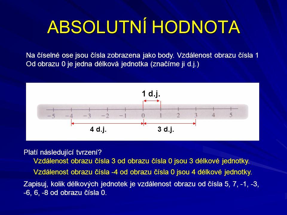 ABSOLUTNÍ HODNOTA Na číselné ose jsou čísla zobrazena jako body. Vzdálenost obrazu čísla 1 Od obrazu 0 je jedna délková jednotka (značíme ji d.j.) 1 d