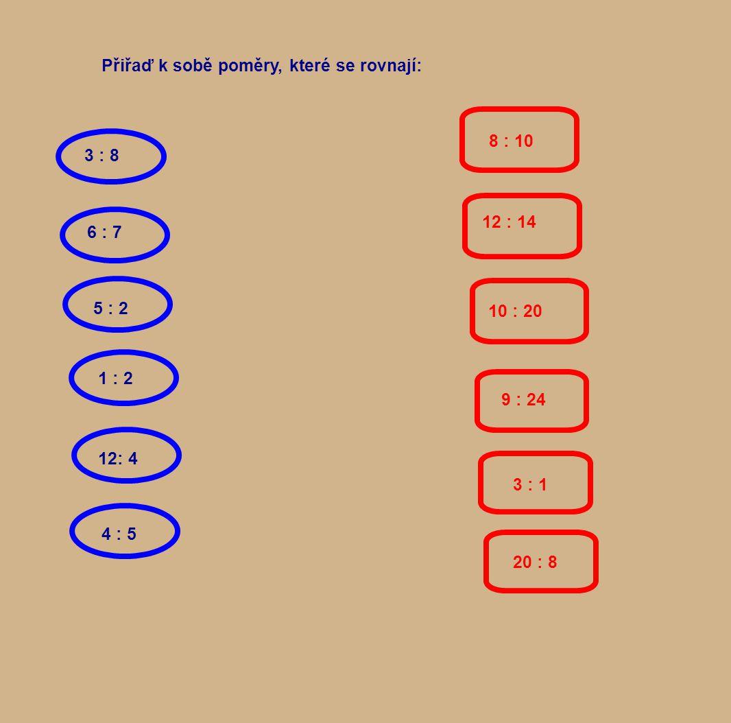 Přiřaď k sobě poměry, které se rovnají: 3 : 8 5 : 212: 4 4 : 5 6 : 7 1 : 2 8 : 10 12 : 14 10 : 20 9 : 24 3 : 1 20 : 8