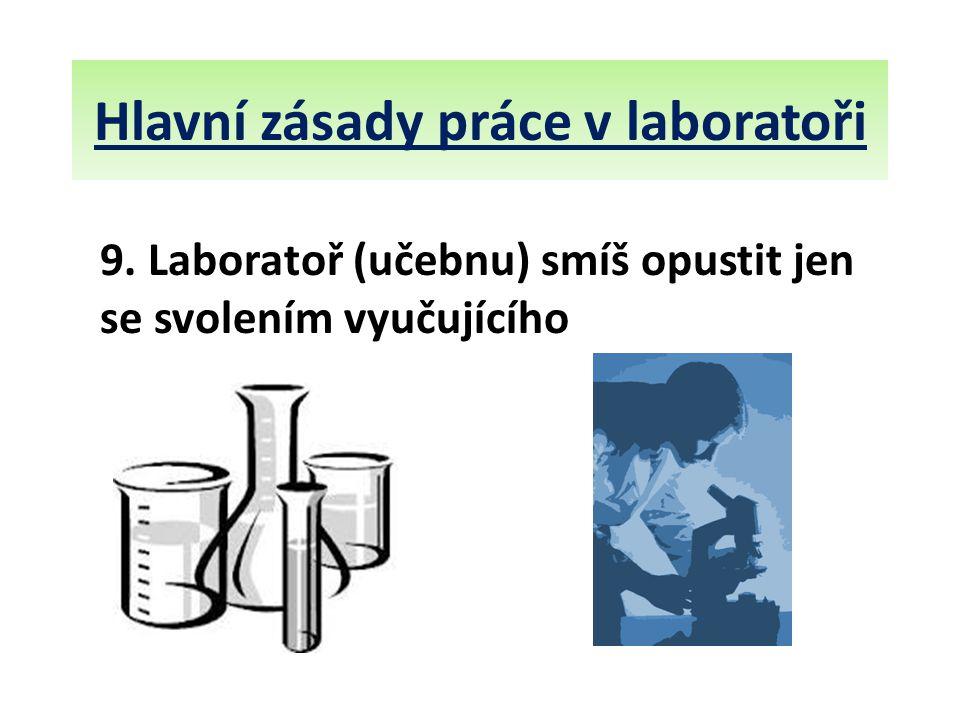 Hlavní zásady práce v laboratoři 9. Laboratoř (učebnu) smíš opustit jen se svolením vyučujícího