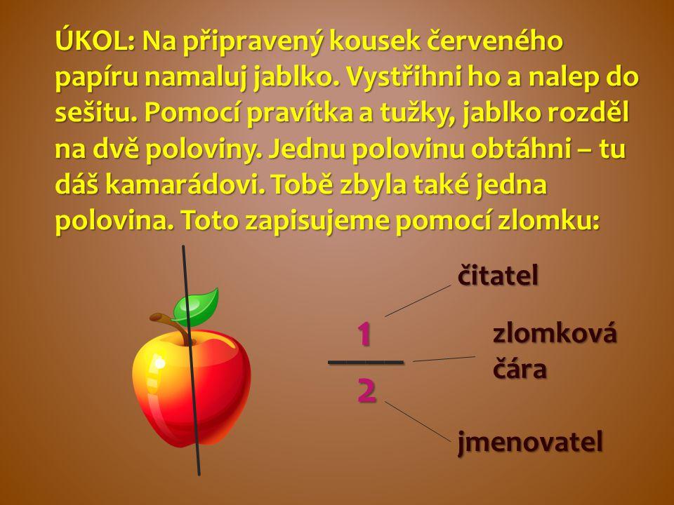 ÚKOL: Na připravený kousek červeného papíru namaluj jablko. Vystřihni ho a nalep do sešitu. Pomocí pravítka a tužky, jablko rozděl na dvě poloviny. Je